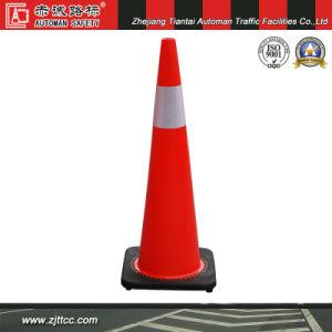 """36"""" en PVC souple réfléchissant de la sécurité routière cône avec base noire (CC-PV90)"""