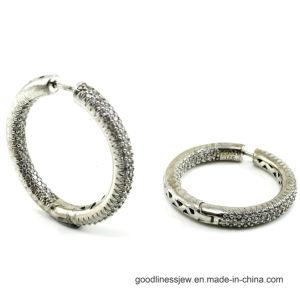 925 de zilveren Hete Verkopende Oorring van de Hoepel van Juwelen om Vorm Beste Liefde van Al van de Grootte het Plaatsen AMERIKAANSE CLUB VAN AUTOMOBILISTEN Kubieke Wowan van het Punt Zerconia Rhodium Geplateerde