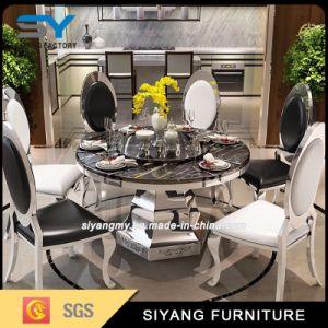 Aço inoxidável moderno conjunto de mesa de jantar Mesa Redonda em mármore
