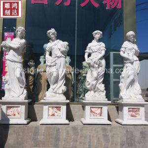 De Zuivere Witte Marmeren Seizoenen van Sichuan Dame Statues
