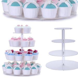4 niveles de acrílico transparente Cake Stand titular de la Torta de forma cuadrada