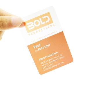 Biglietto da visita trasparente su ordinazione del PVC di stampa Cr80 di formato della carta di credito