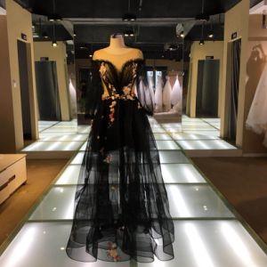 黒い刺繍3Dのレース党プロムの夕方の女の子の服