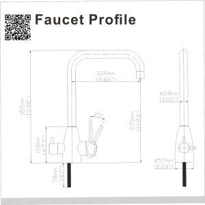 La DG-B3305-Cr 3 moyen débit de l'eau filtrée par canal distinct mélangeur Robinet de cuisine