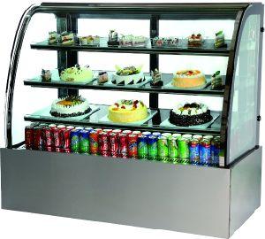 De Refriderated Gebogen Vitrine van de Cake van het Glas
