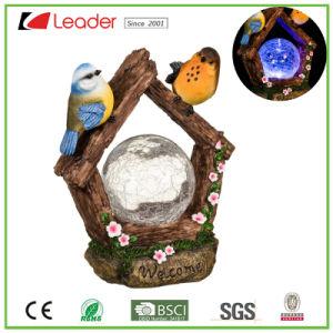 De Vogel van de Tuin van Polyresin van de nieuw-stijl met de ZonneBal van Ritselen voor OpenluchtDecoratie, maakt tot Uw Tuin ZonneOrnamenten