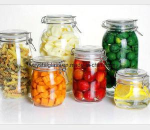Großer Nahrungsmittelspeicher-Glasglas-Kanister mit Metallschwingen-Schutzkappe