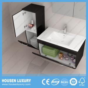 Code-europäisches Strahlen-Doppelt-Fach-unterere Tür-Badezimmer-Möbel MDF-festes LED goldenes