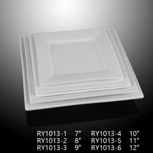Het hotel gebruikte de Populaire Vierkante Witte Ceramische Platen van het Diner