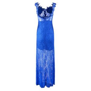 Mulheres em V profundo azul do pescoço Sexy Lace Backless vestido de casamento