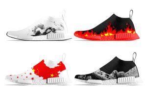 check out da0b6 8d022 Zapatos corrientes de Primeknit del calcetín de encargo de Nmd para las  mujeres de los hombres