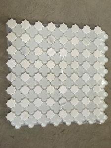 Thassos Mixto Parviflorous blanco vidrio patrón Mosaico de corte chorro de agua