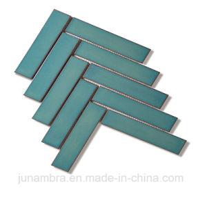 tegel van de Muur van het Mozaïek van het Porselein van het Kristal van 32.5X145mm de Donkerblauwe Glanzende Visgraat Verglaasde