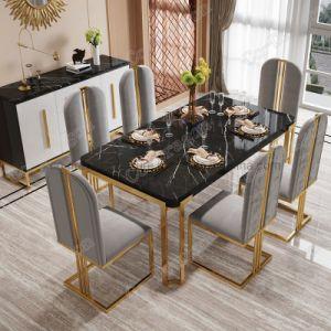 En acier inoxydable de haute qualité marbre artificiel Table à manger de l'hôtel