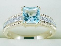 anello di oro giallo 10K con il Topaz blu (LRG1067)