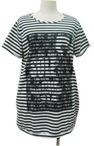 Dame-Streifen-Baumwollt-shirt (QZ1010)
