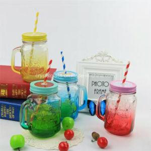 vasi di muratore di vetro 16oz con la tazza bevente di vetro del coperchio del metallo e della maniglia