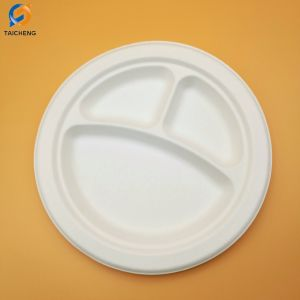 Biodégradable à 3 compartiments de la plaque de bagasse de canne à sucre jetables de pâte