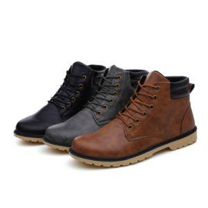 Стильный лодыжки Мартин загружается высокой моды верхней части PU кожаный чехол водонепроницаемый мужчин Зимняя обувь