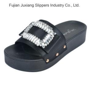 Les femmes Rhinestone Glitter métallique de diapositives de la piscine sandales méplats d'été