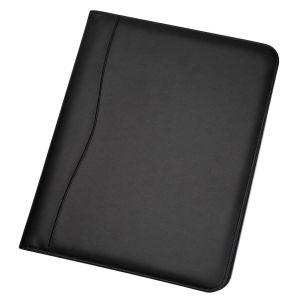 Черный Bifold держатель документов из натуральной кожи для сшивания кольцами