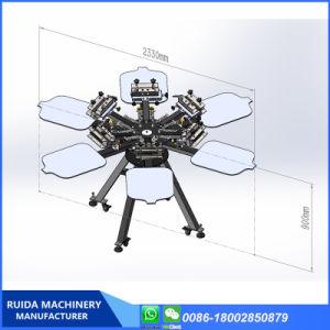 수동 지면 모형 두 배 기계를 인쇄하는 회전하는 6 색깔 6 역 실크 스크린