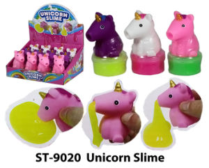 Unicorno divertente di compressione della melma con il giocattolo della melma