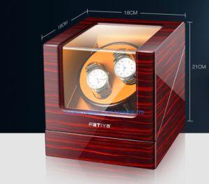 Caixa de relógio de madeira de luxo de elevador de vidros de relógio com bom motor minúsculos de Pintura Interior em espuma de couro grosso