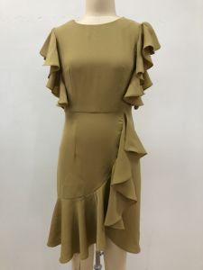 Vestido de moda Dama irregular de la hoja de loto manga parte de las mujeres visten