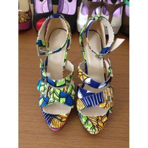 Tela impresa africanos Sandalia peep toe zapatos