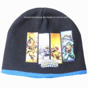 中国の工場は安く漫画によって印刷されたアクリルを暖める編まれた子供の帽子の帽子をカスタマイズした