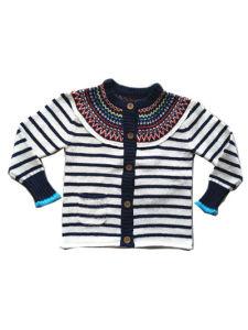 Chicas Chicos niños tejidos de punto jersey de rayas con botones de coco