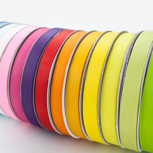 판매를 위한 단 하나 두 배 직면된 폴리에스테에 의하여 인쇄되는 로고 Organza 또는 그로그레인 또는 공단 리본