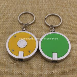 Indicatore luminoso su ordinazione del tondo LED Keychain di promozione