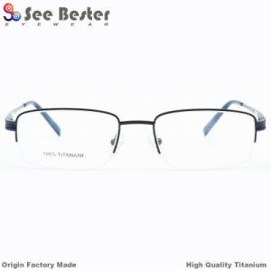 100 % de haute qualité en titane de la moitié des cadres de châssis avec double optique lunettes cadre couleur titane pur prescription optique montures pour lunettes pour hommes d'affaires
