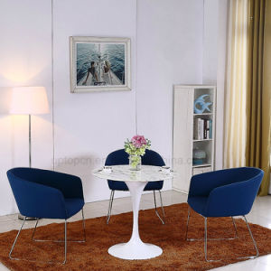 Tissu Bleu Fonce Ronde Chaise De Salle A Manger Avec Pieds