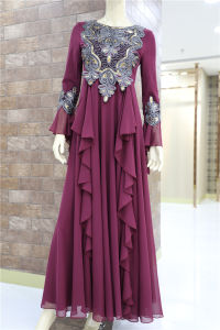 La mode en mousseline robe musulmane plissé brodé Parti à manchon long Mesdames robe