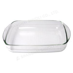 Vidrio de borosilicato de alta resistencia térmica de conjunto de platos de cocción de cristal rectangular para horno de cocción Placa de Baker