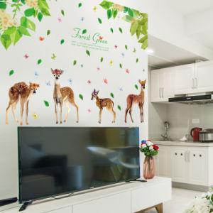 Sk2018 floresta verde com quatro Fawns Adesivo de parede amovível