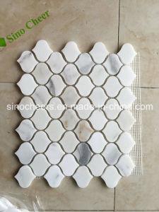 Calacatta weißes Poliermarmorbodenbelag-Fliese-Stein-Mosaik für Wand