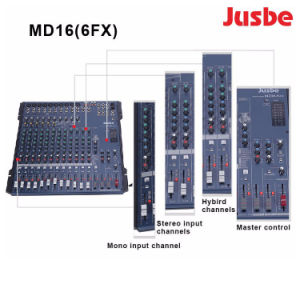MD16/6fx専門のオーディオ・システム16チャネルDJプレーヤーのミキサー