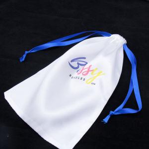 Saco de cetim impressão personalizada de logotipo jóias/makeup/Dom/Wedding/Parte/armazenamento/Pacote Cabelo/Peruca/Equipamento Bag bolsas de tecido de seda