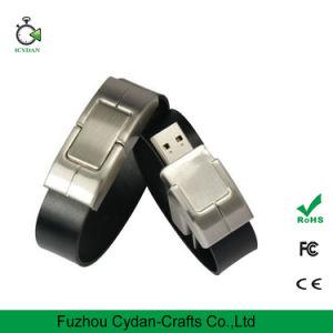 el cuero negro de la pulsera 16GB cifró el mecanismo impulsor del flash del USB
