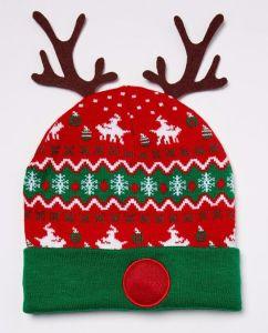 Загорается Antler Рождество Beanie Red Hat