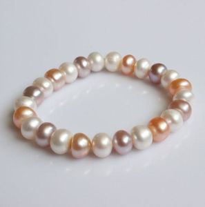 8-9mm Multicolor Elastic Freshwater Pearl Bracelet (EB1577)