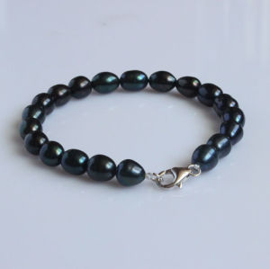 7-8mm Rice Shape Black Freshwater Pearl Bracelet (EB1554-1)