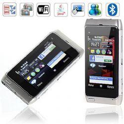 Carte doppie della fascia del quadrato di WiFi N8 con il telefono delle cellule dello schermo di tocco di WiFi Java (argento)