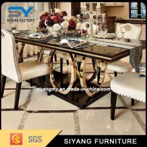 Sala de jantar da perna de Metal Ouro Mobiliário mesa de jantar de vidro