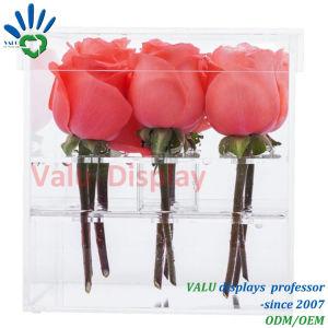 Scatola di presentazione acrilica del fiore della Rosa dei fori del vaso 9 di modo