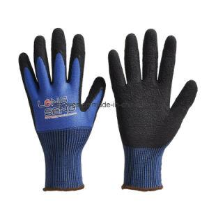 Recubierto de espuma de látex negro de nylon de calibre 13 obras de seguridad laboral de mano los guantes de goma